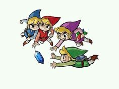 Blue, red, purple & green link