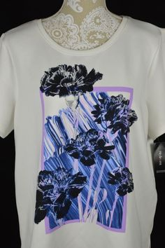 Style&Co. Womens Small White Flower Purple Blue NEW Short Sleeve Shirt Top #StyleCo #KnitTop #Casual