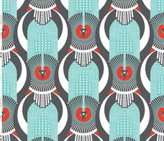 """This incorporates the vertical repetition, the """"halo"""" circle and the slightly arched building motif.     Art Deco Shanghai fabric by zesti on Spoonflower - custom fabric"""