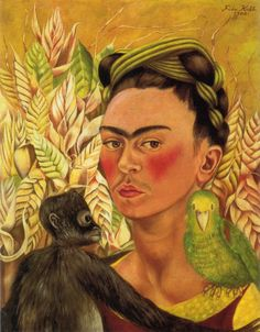 Frida Kahlo: Self Portrait with Monkey and Parrot 1942