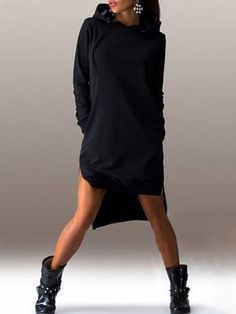 High-low Hem Hoodie Sweatshirt Dress (S/M/L/XL/2XL) $27.99