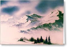 Landscape With Mountains Greeting Card by Teresa Ascone