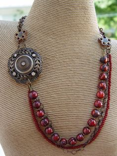 Antique Button Focal, Oxblood Red Pearls and Brass Chain Necklace.