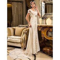 vaina / columna Queen Anne tribunal tren vestido de gasa y encaje de la boda (467025) - USD $ 249.99