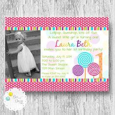 Diy candy shop birthday party invitations vip pass digital u print lollipop invitation girls candy shop or sweet by beeanddaisy stopboris Choice Image