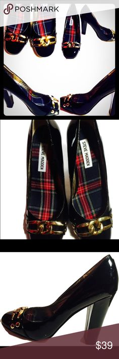 Steve Madden Patent Leather Loafers Steve Madden 'a Nordstrom designer career-wear shoes; Patent leather loafers w/goldish style hardware buckled front. Pre-owned. There are a number of small scratches on these shoes but overall quite attractive shoes. Steve Madden Shoes Heels