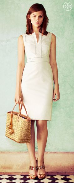 Tory Burch Zoie Dress + Chunky Straw Tote
