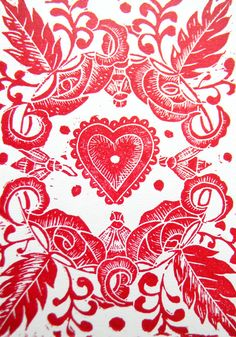 Patterns | Prints | Textiles #Red Heart Original Lino Cut Print - Folksy