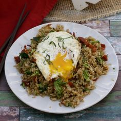 Transform leftover rice into a meal by stir-frying it up with some bacon, broccoli,