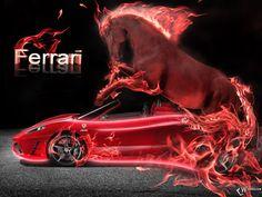 Neon ferrari neon fire ferrari red horse wheelbarrow cars