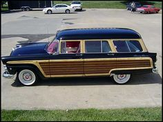 "1955 Ford Country Squire. It seems if the Ford Thunderbird of ""55 had a bigger sister in its family, this would be the one."