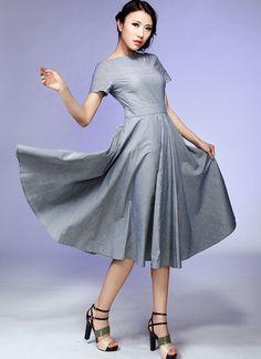 Midi grise robe coton Fit et Flare prom robe grise 527 par xiaolizi