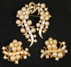 Signed Trifari ALfred Phillipe Pearl Rhinestone Brooch Earring Set - availableatUltimateAdornment.http://www.ultimateadornment.com/shoppingcart.php?item_id=catalog_-2305
