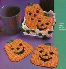 PUMPKIN PATCH COASTERS PLASTIC CANVAS PATTERN INSTRUCTIONS ONLY FROM A MAGAZINE