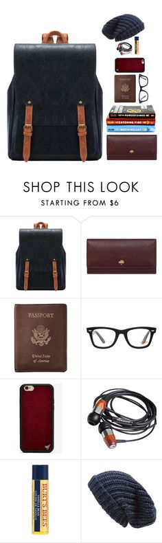 """what's in my bag #5"" by xoxomuty on Polyvore featuring Mulberry, Royce Leather, Ray-Ban, Wildflower, Burt's Bees and Phase 3"