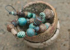 Бусы Бирюзовое раку - бирюзовый,бусы,керамические бусы,керамические бусины