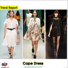 Cape Dress Trend for Spring Summer 2015. Emanuel Ungaro, Giles, and Saint Laurent #Spring2015 #SS15