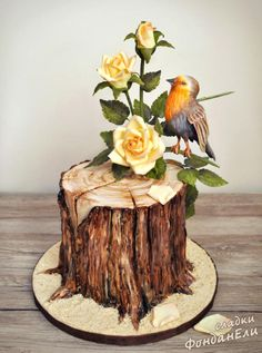 Bird with Roses - cake by FondanEli Pretty Cakes, Beautiful Cakes, Amazing Cakes, Tree Cakes, Bird Cakes, Cupcake Torte, Single Tier Cake, Decoration Patisserie, Woodland Cake