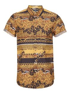Shop for Baroque Leopard Print Short Sleeve Shirt by Topman at ShopStyle. Ck Fashion, Mens Fashion, Cool Outfits, Casual Outfits, Men Casual, Leopard Print Shorts, Short Sleeve Button Up, Swagg, What To Wear