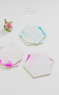 DIY // clay coasters by Something Peach For my finding-useful-things-to-make-with-clay obsession.