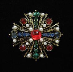 Vintage Maltese Cross Brooch, Bright Colors