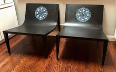 Large Black Lounge chairs designed with a Morocco Style stencil