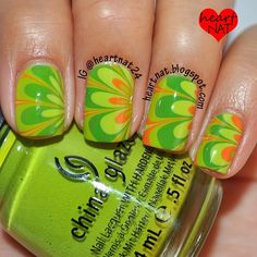 St. Paddy's  watermarble using China Glaze Def Defying, China Glaze Starboard, Sally Hansen Xtreme Wear Sun Kissed, and Sally Hansen Xtreme Wear Green With Envy.  - @heartnat24