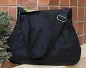 Sale - Black Canvas Bag with Pear Lining, purse, tote, messenger, shoulder bag, everyday bag