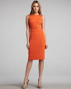 T4N1S David Meister Snap-Shoulder Sheath Dress