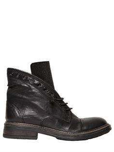 FRUIT - 20MM STUDDED LACE UP CALF LEATHER BOOTS - LUISAVIAROMA - LUXURY SHOPPING WORLDWIDE SHIPPING - FLORENCE Black Leather Boots, Calf Leather, Boots 2014, Luxury Shop, Designer Boots, Fashion Boots, All Black Sneakers, Calves, Combat Boots