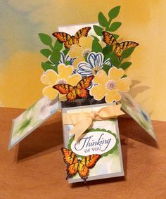 Card in a box with Stampin Up Flower Shoppe, Papillon Potpourri, and Wetlands.