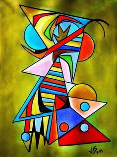 Tropical Bird Eating a Blue pearl by Zarzalon Geometric Painting, Geometric Art, Tableau Pop Art, Kandinsky Art, African Art Paintings, Cubism Art, Abstract City, Whimsical Art, Art Pop