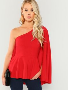 ec025ea714 SheIn offers Asymmetrical Neck Peplum Top & more to fit your fashionable  needs.