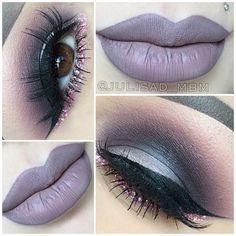 Lippie is Sugar and Marshmallow from @colouredraine Eyes I used Maleficent Eyeshadow Palette from @mybeautymarkmakeupacademy Glitter is Kiki from @shopvioletvoss Eyelashes are Noemi from @lashesbylena