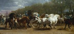 The horse fair. Artist: Rosa Bonheur (French, Bordeaux 1822–1899 Thomery) Date: 1852–55 Medium: Oil on canvas Dimensions: 96 1/4 x 199 1/2 in. (244.5 x 506.7 cm)