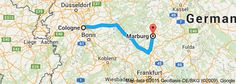 From: Cologne, Germany To: Marburg, Germany. Kathy & Abby travel this route, then meet up with the tour in Frankfurt.