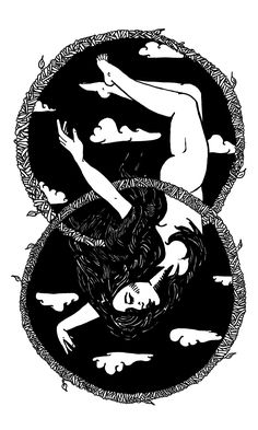 The Hanged Man card in the Blind Tarot deck by illustrator Dominique Rose