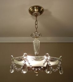 Vintage Chandelier Crystal Beaded Drape 1930's Antique Victorian Glass Hanging Ceiling Light Fixture Rewired