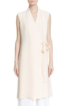 Nordstrom Signature and Caroline Issa 'Adaline' Silk Long Wrap Vest available at #Nordstrom