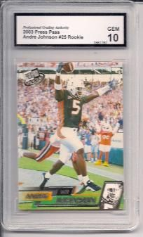 ANDRE JOHNSON - 2003 PRESS PASS #25 - ROOKIE - GRADED PGA 10 GEM MINT - TEXANS - FREE S/H