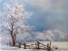 frosty day-tree & fence in snow varvara harmon Frosty Day Painting by Varvara Harmon Watercolor Landscape, Landscape Art, Landscape Paintings, Watercolor Art, Winter Painting, Winter Art, Oil Painting On Canvas, Fence Painting, Painting Snow