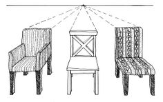 Drawing furniture in Perspective 1 Point Perspective Drawing, Perspective Art, Drawing Furniture, Chair Drawing, Interior Design Sketches, Perspective Photography, Elements Of Art, Trends, Designs To Draw