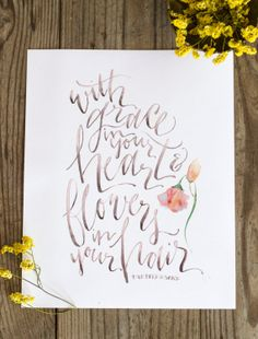 With Grace in Your Heart and Flower in Your Hair - Mumford and Sons Lyrics Print by WinsomeEasel on Etsy, After the Storm