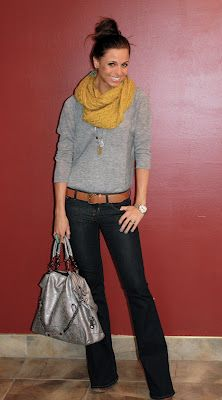 Gray, mustard & trouser jeans for fall - I would have to swap out the mustard so I didn't look sick but love the idea