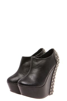 Greta Black Leather Look Studded Back Wedge Boot
