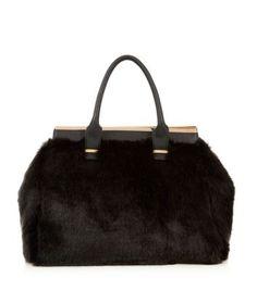Black Faux Fur Tote Bag