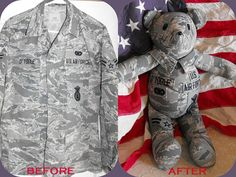 Custom Keepsake Teddy Bear made from T-shirts, clothes, blankets, or just Memory Pillows, Memory Quilts, Quilting Projects, Sewing Projects, Sewing Ideas, Shirt Quilt, Shirt Pillows, Military Crafts, Stuffed Animal Patterns