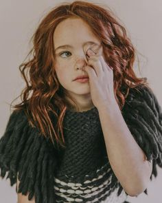 Kids Tuchinda Sky Knit Vest - charcoal/ivory on Garmentory Pretty People, Beautiful People, Ginger Girls, Kid Character, Portraits, Ginger Hair, Beautiful Children, Freckles, Cute Kids