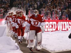Petr Mrazek leads his teammates, Coors Light NHL Stadium Series Game, Army Hockey, Stadium Series, Steve Yzerman, Hockey Boards, Red Wings Hockey, Nhl News, Go Red, American Sports, Red Army