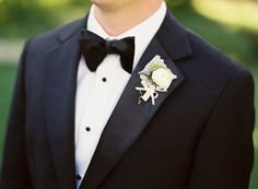 #bow-tie, #boutonniere  Photography: Jose Villa - josevillaphoto.com Floral Design: Mindy Rice - mindyrice.com Calligraphy: Laura Hooper - lhcalligraphy.com  Read More: http://www.stylemepretty.com/california-weddings/santa-barbara/2010/10/19/buying-guide-san-ysidro-ranch-wedding-by-jose-villa/